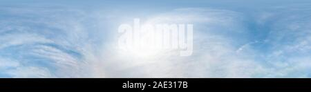 blue sky with beautiful cumulus clouds. Seamless hdri panorama 360 degrees angle view with zenith for use in 3d graphics or game development as sky do - Stock Photo