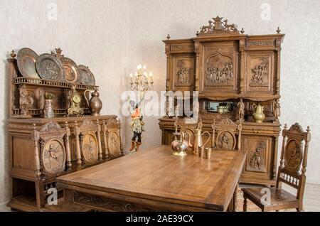 Antique kitchen interior in traditional Belgian style. - Stock Photo