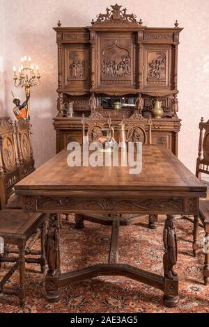 Antique kitchen interior in traditional Belgian style. The late 19th century. - Stock Photo