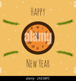 Clock on a beige background with a new year inscription and spruce branches. The clock shows five minutes to midnight. Frame of fir branches. Snow. Me - Stock Photo