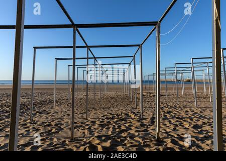 Wooden structure for the tents of Les Sables d'Olonne beach (Vendee, France) - Stock Photo