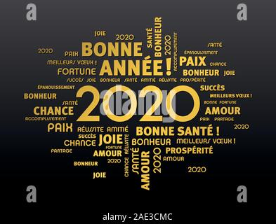 Gold greeting words around New Year date 2020, in French language, on black background - Stock Photo
