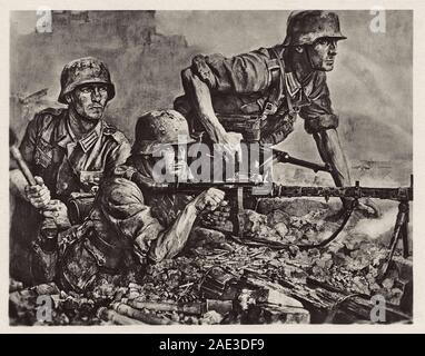 German soldiers during invasion of France. Nazi German postcard by Wilhelm Sauter, 1940s - Stock Photo