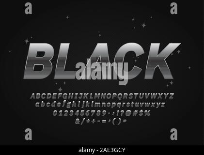 Dark Silver Font. Metallic Alphabet Letters, Numbers and Symbols. Vector - Stock Photo