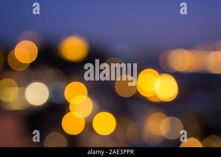 Blurred bokeh city lights, abstract night scene. High resolution full frame background. - Stock Photo
