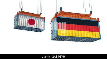 Freight container with Japan and Germany national flag. 3d rendering - Stock Photo