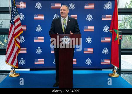 Rabat, Morocco. 05 December, 2019. U.S. Secretary of State Mike Pompeo addresses staff and family members during a visit to the U.S. Embassy December 5, 2019 in Rabat, Morocco. Pompeo stopped on his first visit to Morocco as part of the U.S. Israel pressure campaign against Iran. Credit: Ron Przysucha/State Department/Alamy Live News - Stock Photo