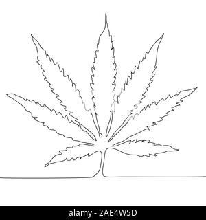 Continuous line drawing. Marijuana leaf outline icon.Cannabis simple line vector icon. Drug plants symbol, logo illustration. - Stock Photo