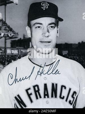 Vintage autographed black and white souvenir photo of Chuck Hiller with the San Francisco Giants circa 1960s. Stock Photo