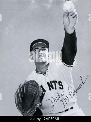Vintage autographed black and white souvenir photo of Mike McCormick with the San Francisco Giants circa 1960s. Stock Photo