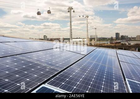 Solar PV panels on the roof of the Crystal building which is the first building in the world to be awarded an outstanding BREEAM (BRE Environmental As - Stock Photo