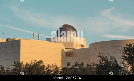 ORLANDO, FLORIDA - NOV 11, 2019: Rear view of observatory on top of the state of the art Orlando Science Center.