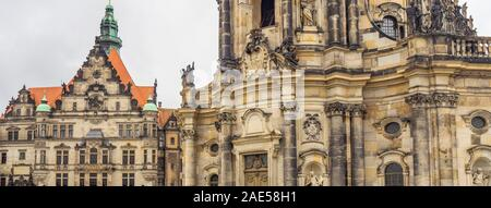 Cathedral of the Holy Trinity Katholische Hofkirche and Georgentor Altstadt Dresden Saxony Germany. - Stock Photo