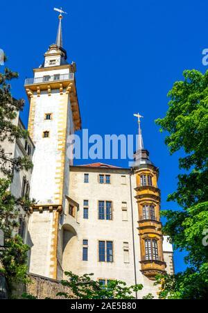 Oriel bay window and Hausmannsturm tower of Castle Hartenfels Altstadt Torgau Saxony Germany. - Stock Photo