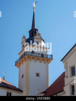 Spire and tower Hausmannstrum Castle Hartenfels Altstadt Torgau Saxony Germany. - Stock Photo