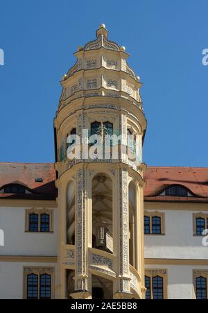 Grosse Wendelstein Impossible Staircase in courtyard of Castle Hartenfels Altstadt Torgau Saxony Germany. - Stock Photo