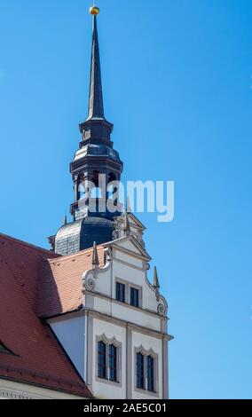 Spire on tower send from courtyard of Castle Hartenfels Altstadt Torgau Saxony Germany. - Stock Photo