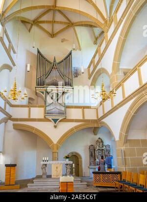 Music organ by Martin Vier in Castle Hartenfels chapel the first Protestant church in the world, Altstadt Torgau Saxony Germany. - Stock Photo