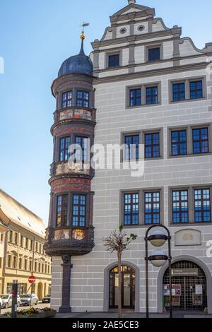 Oriel bay window on corner of Rathaus Torgau Saxony Germany. - Stock Photo