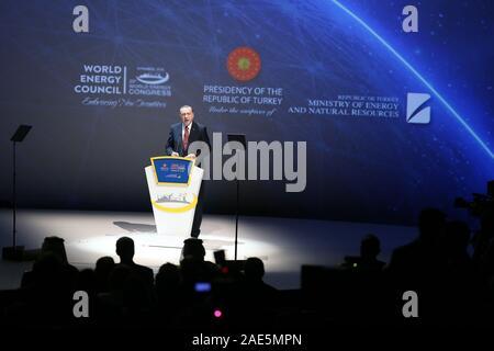 ISTANBUL, TURKEY - OCTOBER 10: Republic of Turkey President Recep Tayyip Erdogan speech during at the 23rd World Energy Congress opening ceremony on October 10, 2016 in Istanbul, Turkey. - Stock Photo