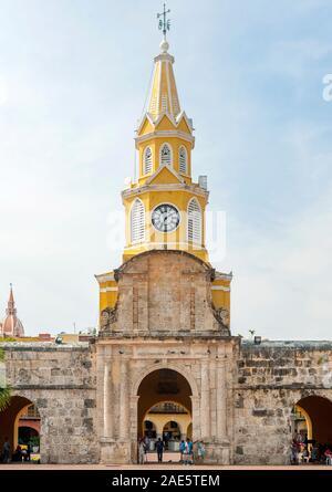 The Puerta del Reloj, Torre del Reloj or Boca del Puente (clock tower monument) in Cartagena, Colombia. - Stock Photo
