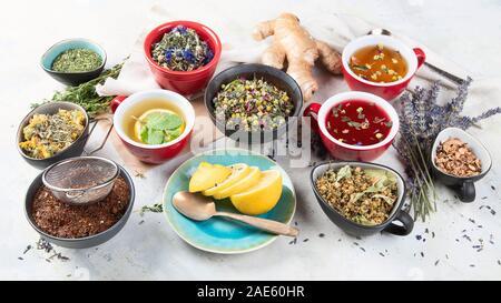 Different kinds of herbal tea.. Alternative medicine concept. - Stock Photo