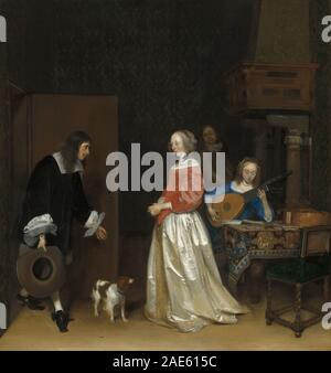 The Suitor's Visit; c. 1658 Gerard ter Borch the Younger, The Suitor's Visit, c 1658 - Stock Photo