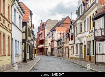 Street of row of traditional timber frame buildings in historic Altstadt Tangermünde Saxony-Anhalt Germany. Stock Photo