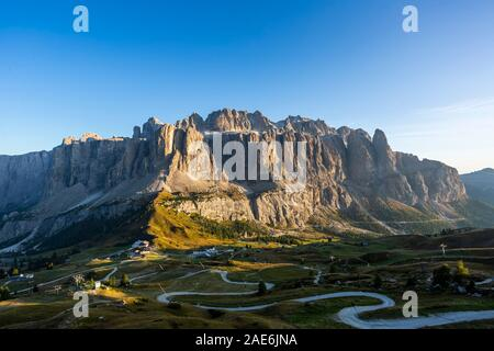 View of Gardena Pass and Sella group from Pizes de Cir, Italy - Stock Photo