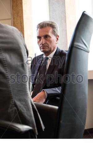 Günther Oettinger, ehemaliger deutscher EU Kommissar für Haushalt und Personal - Stock Photo