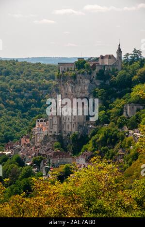 The picturesque medieval town of Rocamadour with its castle, Causses du Quercy Regional Natural Park, Lot (46), Occitanie region,France. - Stock Photo