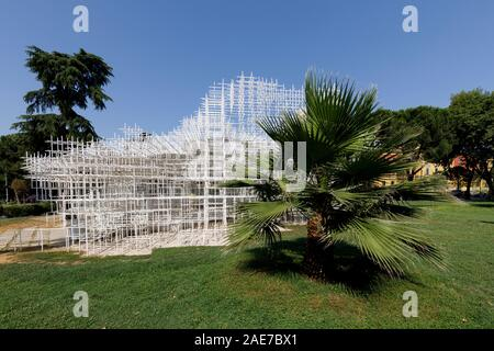 Tirana, Albania, July 8 2019: Installation art object called 'The Cloud' in the center of Tirana. Designed by the renowned Japanese architect Sou Fuji - Stock Photo