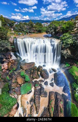 Royalty high quality free stock image aerial view of Voi waterfall or Elephant waterfall, DaLat, Lam Dong province, is top waterfalls in Vietnam