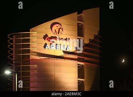 BIRMINGHAM, ENGLAND - DECEMBER 2019: Floodlit sign at night on the Resorts World Arena, a concert venue at the Birmingham National Exhibition Centre - Stock Photo