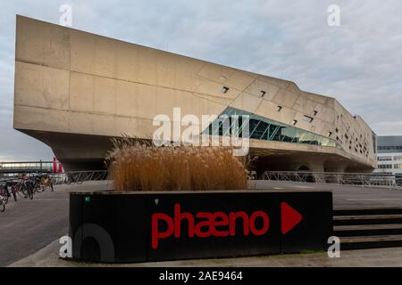 Wolfsburg, Germany - Dec 5th 2019: Science Center Phaeno is a landmark in city of Wolfsburg. It's located close to Autostadt. - Stock Photo