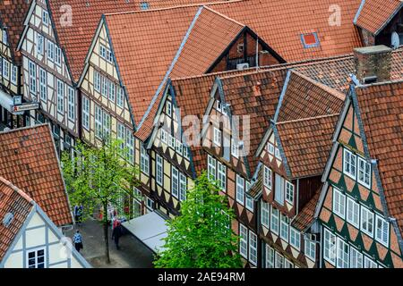 View over the rooftops of the medieval old town of Celle, from the tower of the town church, Stadtkirche, Celle, Lower Saxony, Germany - Stock Photo