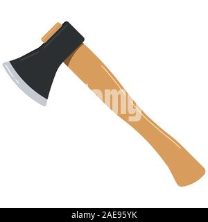 Axe icon isolated on white background flat design cartoon style vector illustration. - Stock Photo