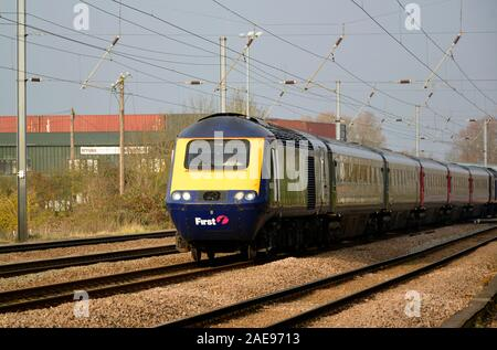 Hull Trains Class 43 HST 43010 and 43020 on loan from GWR passes Offord Cluny on the East Coast Main Line, Cambridgeshire UK - Stock Photo