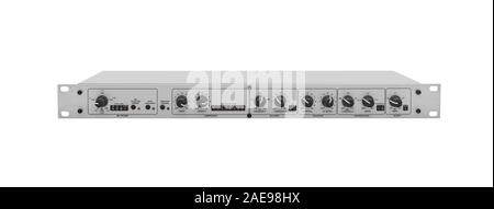 Microphone Preamp on White - Stock Photo