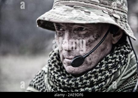 Experienced military army soldier commander close-up portrait - Stock Photo