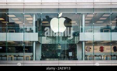 HongKong - November,  2019: The Apple Logo on Apple Store facade in Hongkong - Stock Photo