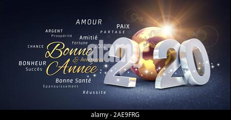 2020 New Year date number, composed with a gold colored planet earth, greetings and best wishes in French language, on a festive black background - 3D - Stock Photo