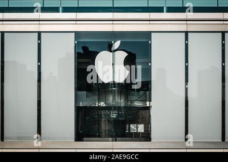 HongKong - November,  2019: The Apple logo on closed Apple flagship Store in Hongkong - Stock Photo