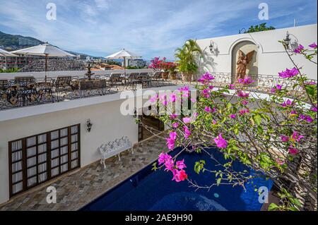 Swimming pool and deck from RIchard Burton Suite at Casa Kimberly; Puerto Vallarta, Jalisco, Mexico. - Stock Photo