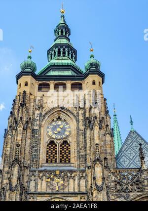 Great South Tower of Gothic St Vitus Cathedral Prague Castle Complex Prague Czech Republic.