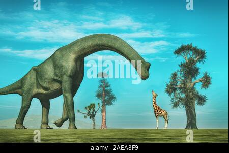 Giraffe in front of a  brachiosaurus. This is a 3d render illustration. - Stock Photo