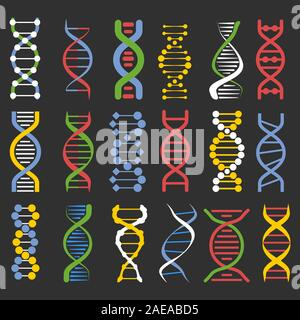 DNA molecule chains colourful icons collection on black background - Stock Photo