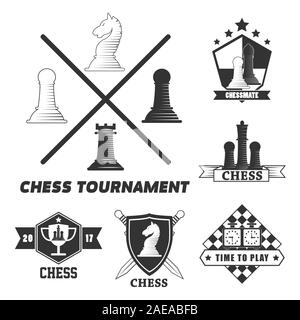 Chess board game logo set with pieces on chessboard - Stock Photo