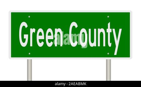Rendering of a 3d green highway sign for Green County - Stock Photo