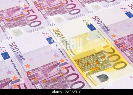 Banknotes, euro notes 500s 200s - Stock Photo